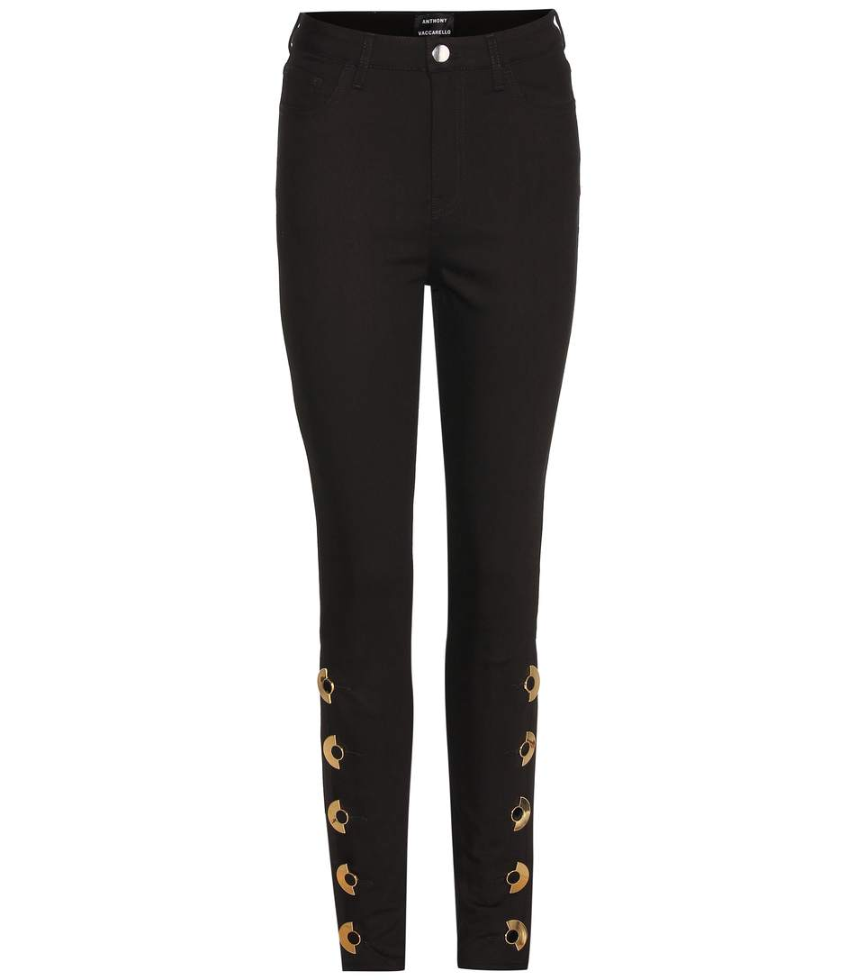 ANTHONY VACCARELLO Embellished Skinny Jeans in Black