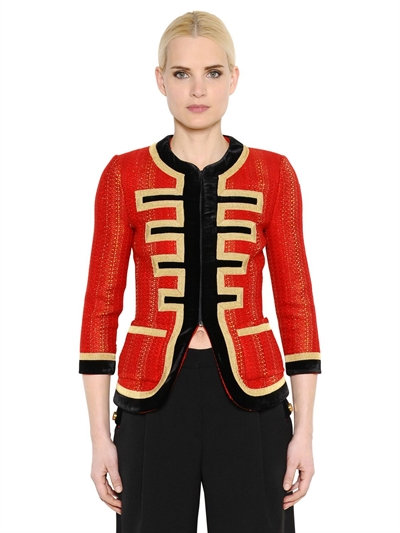 Velvet-Trimmed Jacket In Red And Gold Tweed