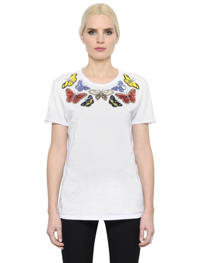 Butterflies Embellished Jersey T-Shirt, White