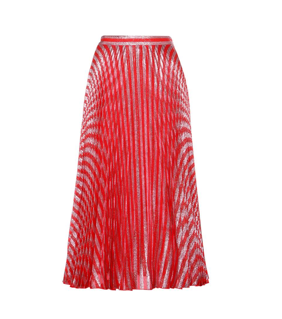 GUCCI Women'S Mid-Length Pleated Lamé Skirt In Pink And Red, Ieteese Red