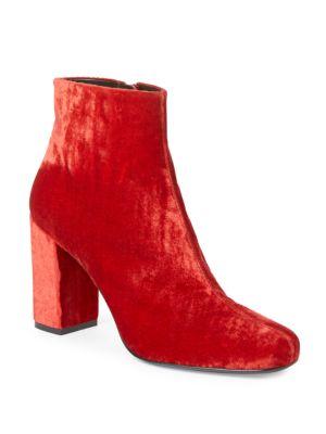 Babies Velvet Block-Heel Booties in Red