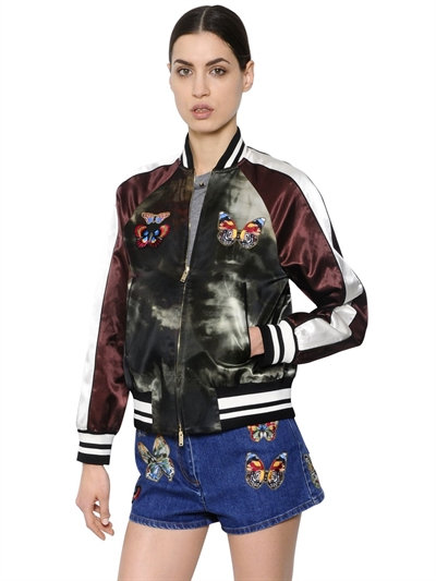 Patched & Printed Satin Bomber Jacket, Multicolor