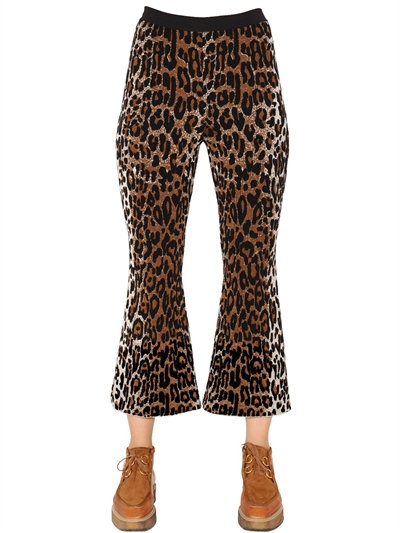Wool-Blend Knitted Cropped Flared Trousers, Multicolor