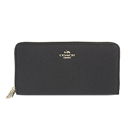 Accordion Zip Wallet In Embossed Textured Leather, Li/Saddle