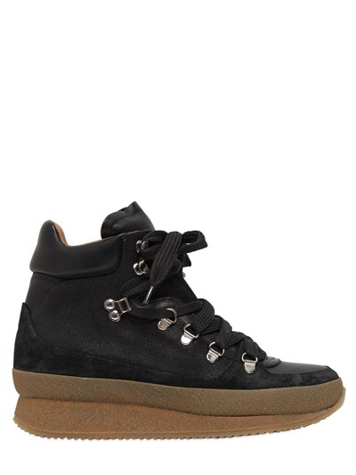 Isabel Marant étoile Brent concealed wedge leather, suede and fabric ankle boots
