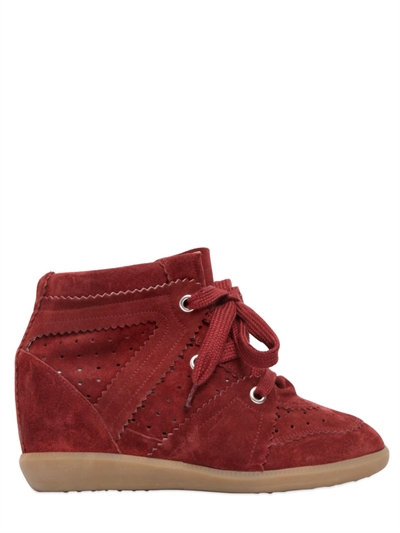 ISABEL MARANT Etoile 80Mm Bobby Suede Wedge Sneakers, Bordeaux
