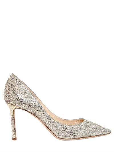 85Mm Romy Glitter & Net Lace Pumps, Light Gold