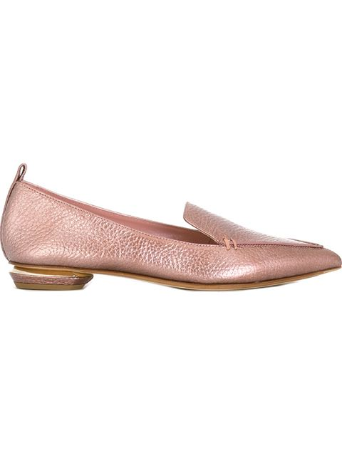 Nicholas Kirkwood Designer Shoes, Beya Platino Metallic Tumbled Leather Loafer