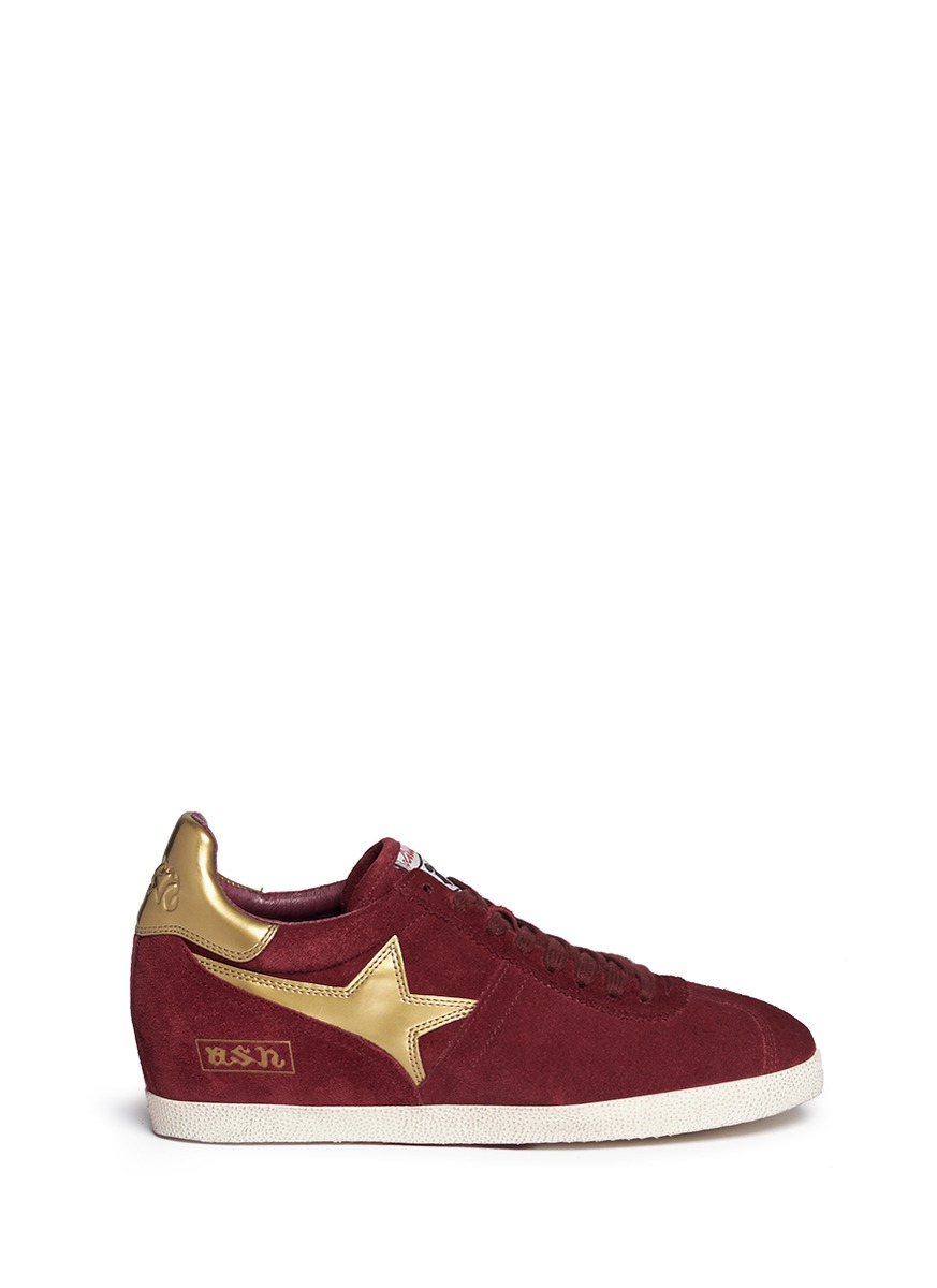 """Guepard' Star Patch Suede Concealed Wedge Sneakers in Barolo/Old Gold/Barolo"