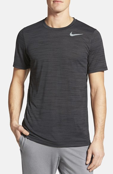 NIKE Dri-Fit Touch Heathered Short Sleeve T-Shirt, Black Pin/ Cool