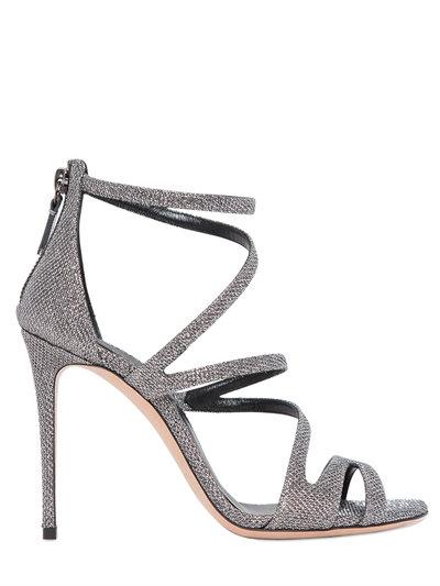 100Mm Glittered Fabric Sandals, Silver/Black