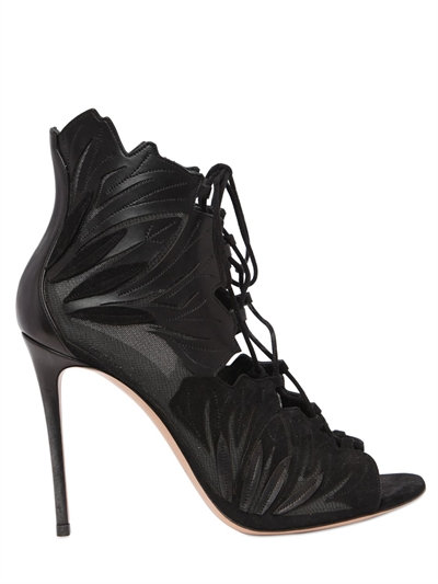 100Mm Leaf Suede Open Toe Boots, Black from CASADEI