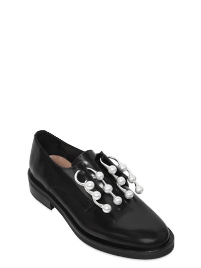 20Mm Anello Piercing Leather Shoes in Black