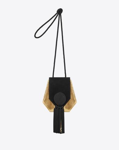 Opium 3 Tassel Bag In Gold Metallic Ayers Snakeskin And Black Suede And Silk Cording, Black Gold