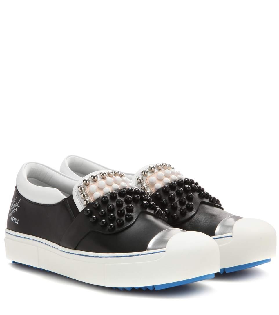 embellished slip-on sneakers - Black Fendi qOjZLJHKrv