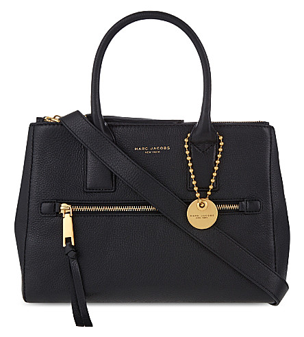 Recruit East/West Pebbled Leather Tote, Black