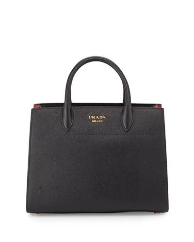 Bibliotheque Medium Saffiano Top-Handle Tote Bag, Black/White (Nero+Bianco), Black/Red