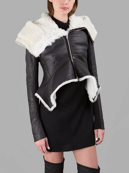 View Sale Online Outlet Big Discount Rick Owens Wool-Trimmed Leather Coat Outlet Sale Cheapest Cheap Online Free Shipping Buy rlueratwC