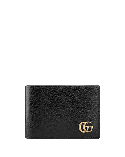 Gg Marmont Grained-Leather Bi-Fold Wallet, Black Leather