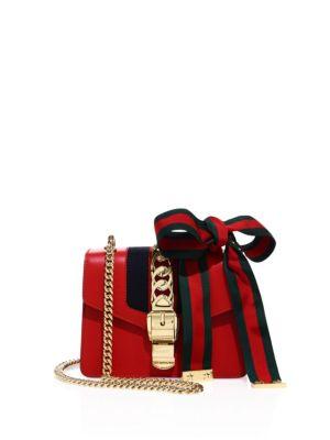 Sylvie Mini Chain-Embellished Leather Shoulder Bag, Red