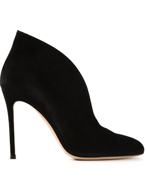 GIANVITO ROSSI Vania Suede High-Back Ankle Boots, Black