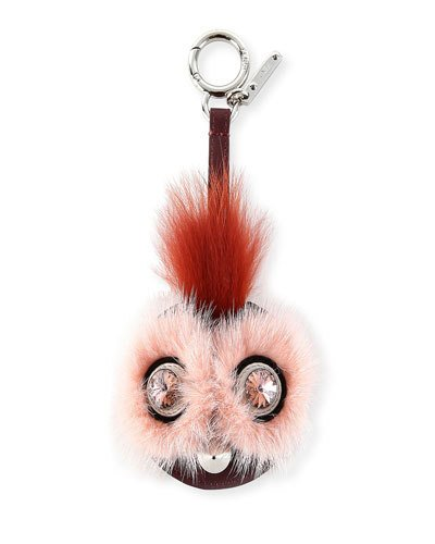 Monster Mixed-Fur Mirror Charm For Handbag, Pink/Rust