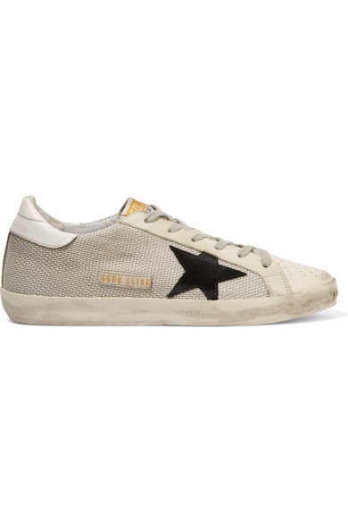 Super Star Distressed Leather-Paneled Mesh Sneakers, White