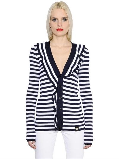 SONIA RYKIEL Ruffled Striped Knitted Cardigan in Blue/White