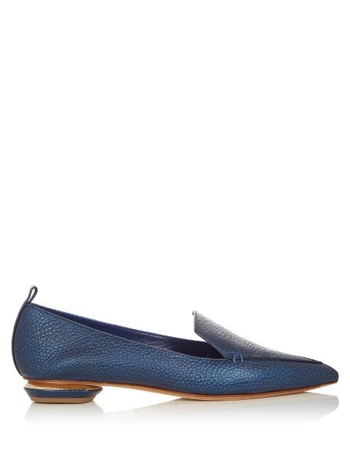 Beya Grained-Leather Loafers, Metallic Midnight-Blue