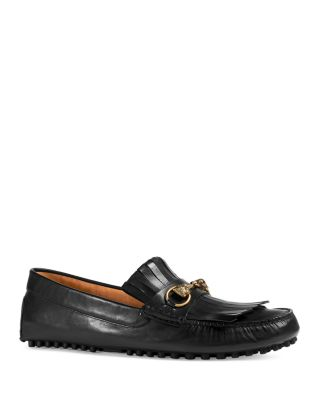 e895bc7e3d1 GUCCI ROAD JUMP FRINGED LEATHER LOAFERS
