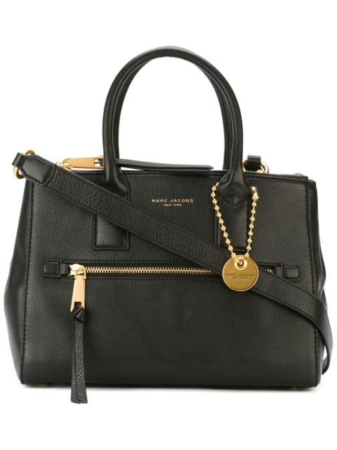 Recruit East/West Pebbled Leather Tote in Black
