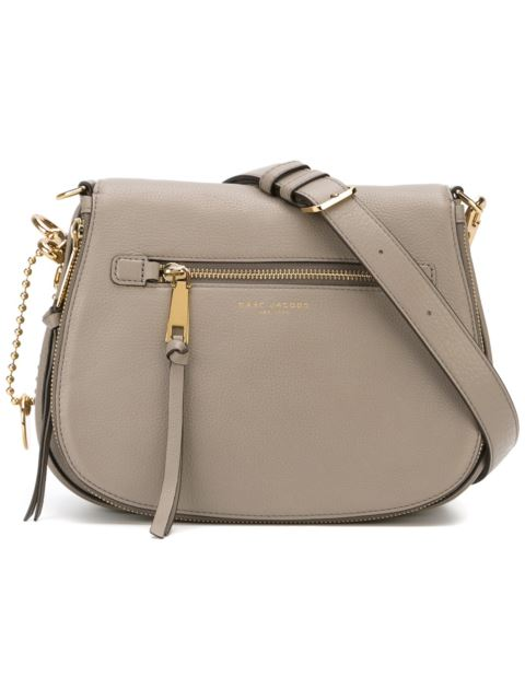 Recruit Small Leather Shoulder Bag, Grey