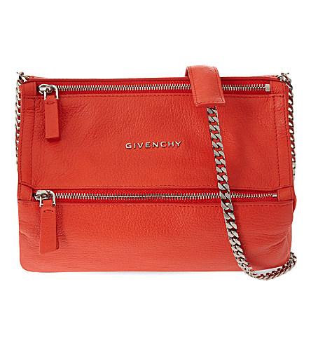 a8c773a3b53 detailed look 90464 4d3af Givenchy Pandora Mini Leather Shoulder Bag In  Orange Fluo ...
