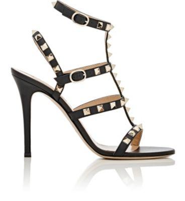Rockstud Patent Leather Gladiator Sandals in Black