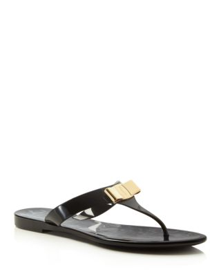 Farelia Jelly Flat Bow Sandal, Black