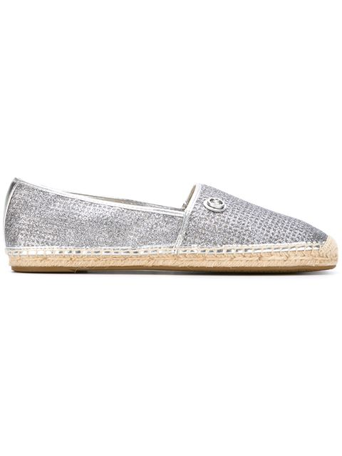 Kendrick Perforated Sparkly Espadrille Flat, Silver, Pale Gold