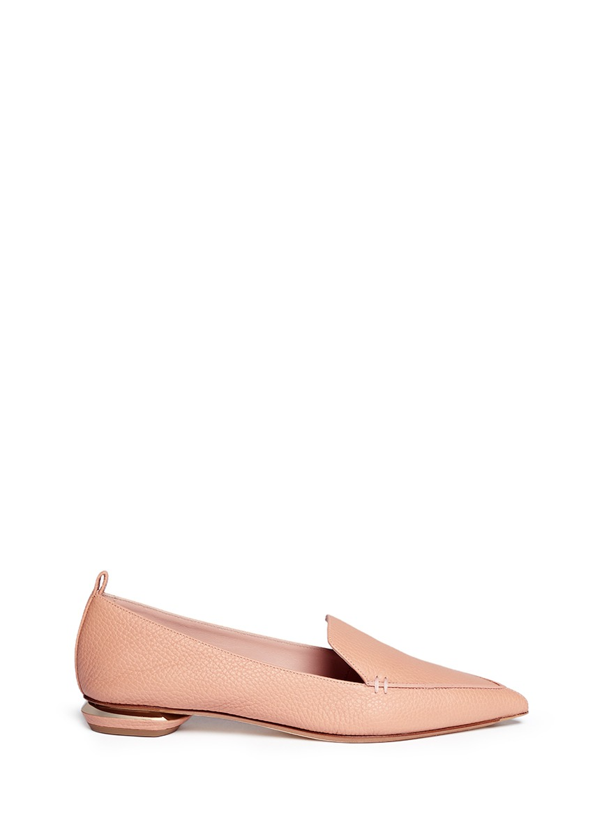 'Beya Bottalato' Metal Heel Leather Skimmer Loafers in Neutrals