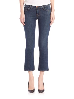 Woman Selena Cropped Frayed Mid-Rise Bootcut Jeans Mid Denim, Lonesome