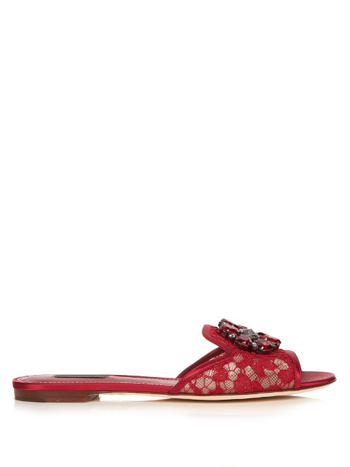 Embellished Leather-Trimmed Lace Slides in Red