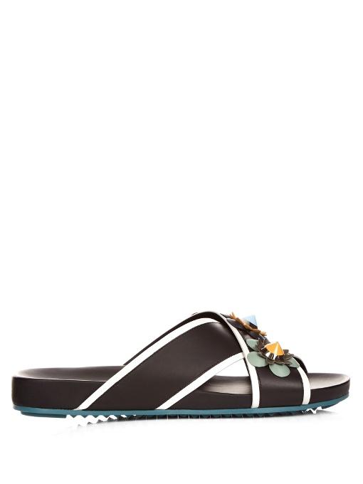 FENDI Flowerland Leather Crisscross Slides, Black