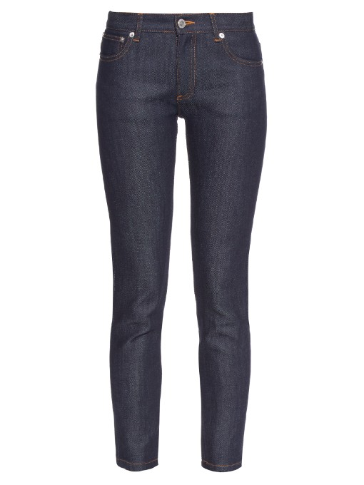 Etroit Mid-Rise Skinny Cropped Jeans in Blue
