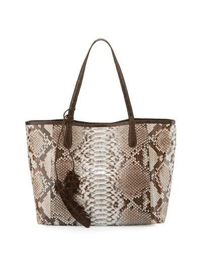 NANCY GONZALEZ Erica Python Shopper Tote Bag, Natural/Chocolate in Natural Black