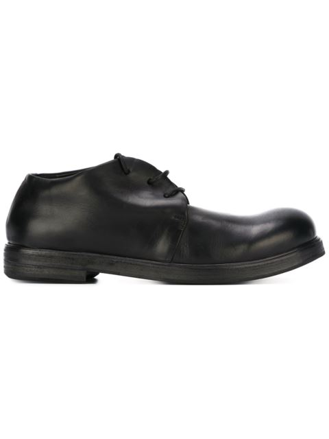 MARSÈLL 'Zucca Zeppa' Distressed Leather Derbies in Black