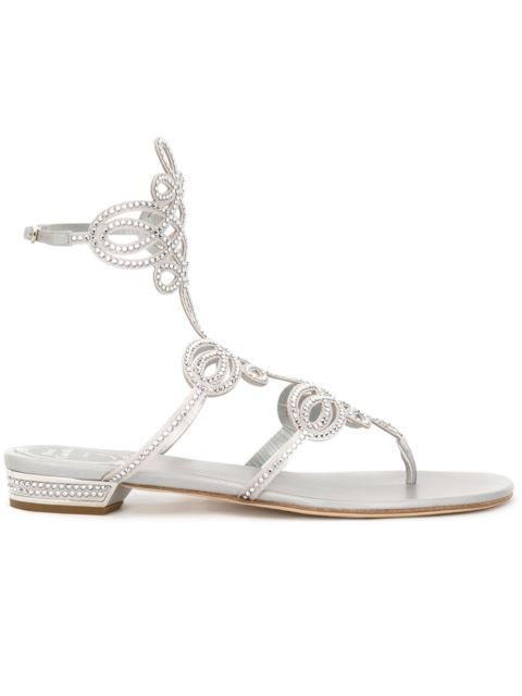 RENÉ CAOVILLA Swarovski Crystal-Embellished Satin Flat Sandals, Silver