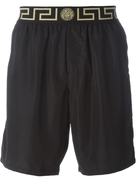 Long Swim Trunks W/ Greek Key Waistband in Black