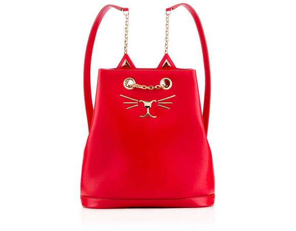 Feline Croc-Embossed Leather Backpack in Red