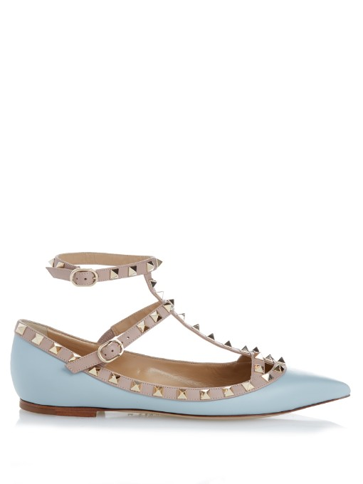VALENTINO Rockstud Patent Leather Cage Flats in Light Grey