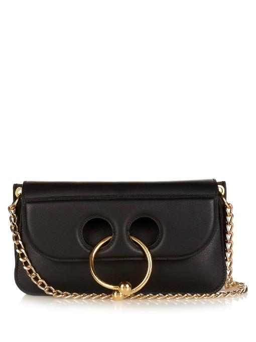 Small Pierce Leather Shoulder Bag, Black