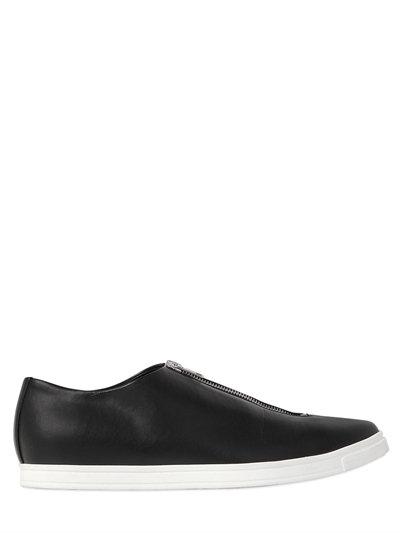 Sligo Faux-Leather Zip-Front Sneaker, Black