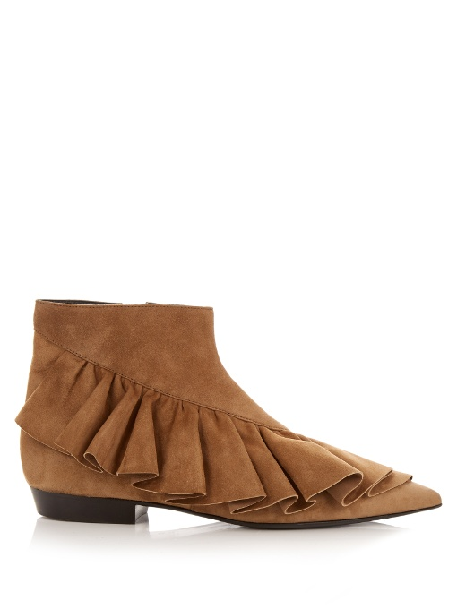 Jw Anderson Suede Ruffle Booties In Brown, Tan